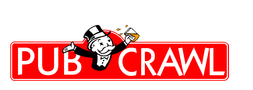Our very fun logo for the London Monopoly board pub crawl